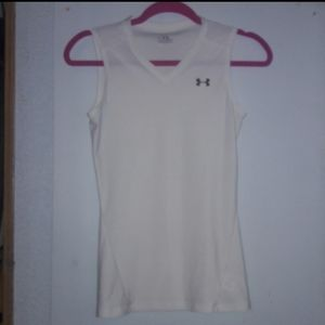 Under armour heat gear medium white tank dri fit